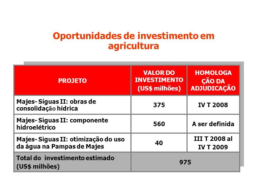 Oportunidades de investimento em agricultura