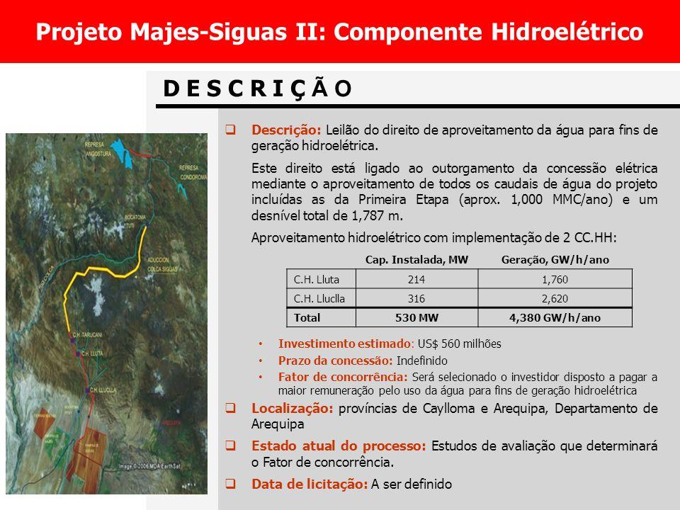 Projeto Majes-Siguas II: Componente Hidroelétrico