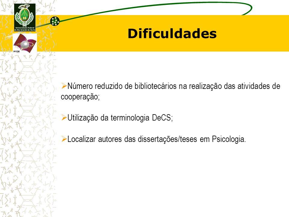 Dificuldades Número reduzido de bibliotecários na realização das atividades de cooperação; Utilização da terminologia DeCS;