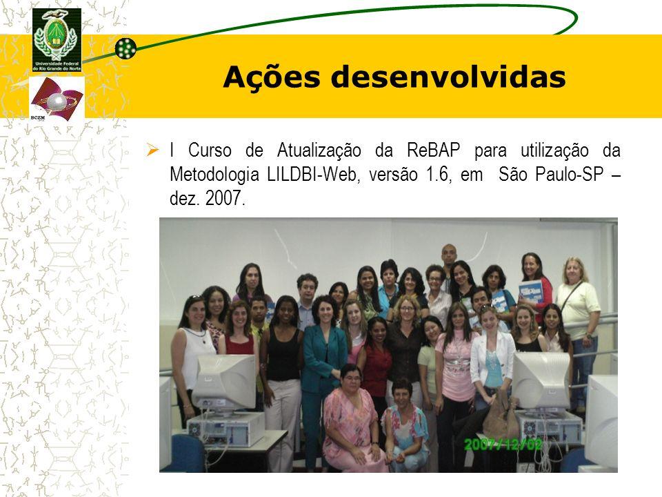 Ações desenvolvidas I Curso de Atualização da ReBAP para utilização da Metodologia LILDBI-Web, versão 1.6, em São Paulo-SP – dez.
