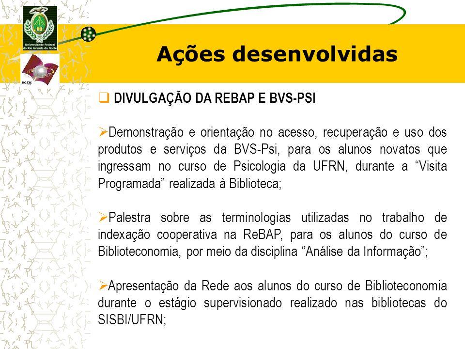 Ações desenvolvidas DIVULGAÇÃO DA REBAP E BVS-PSI