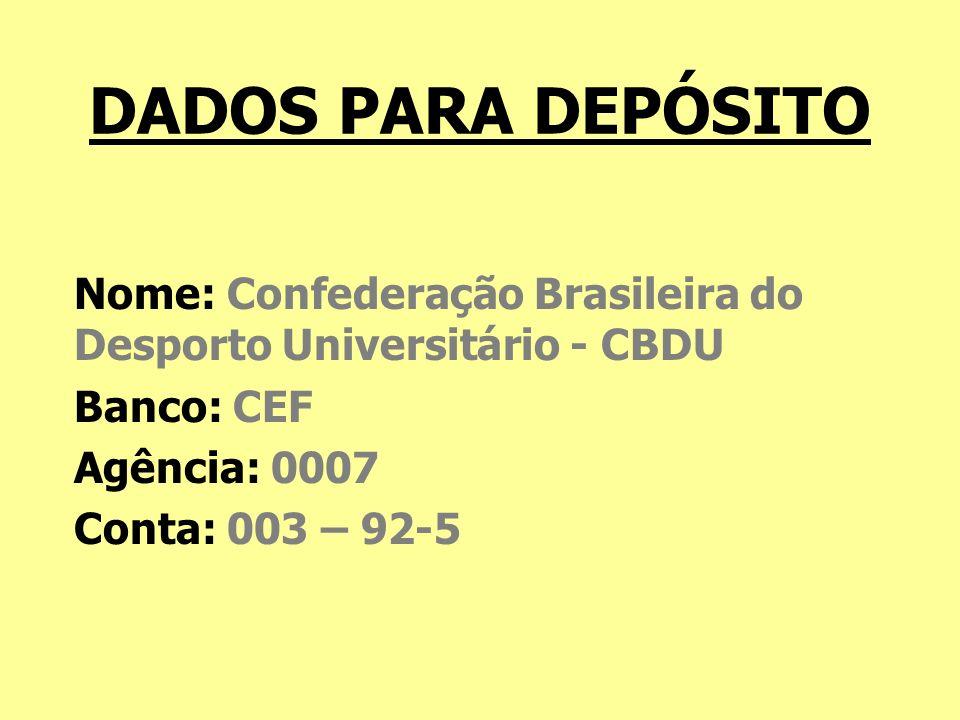 DADOS PARA DEPÓSITO Nome: Confederação Brasileira do Desporto Universitário - CBDU. Banco: CEF. Agência: 0007.