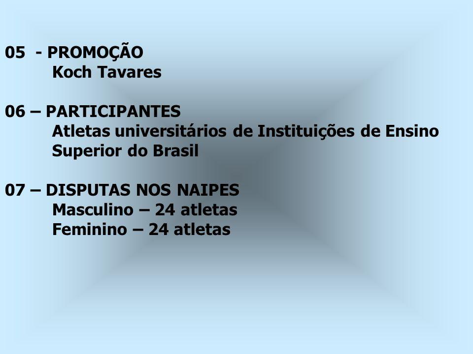 05 - PROMOÇÃO Koch Tavares. 06 – PARTICIPANTES. Atletas universitários de Instituições de Ensino.
