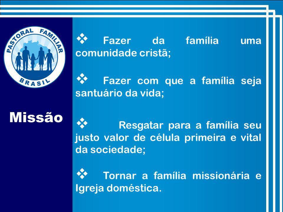 Missão Fazer da família uma comunidade cristã;