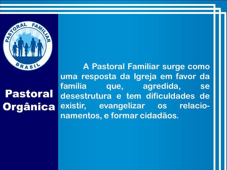 A Pastoral Familiar surge como uma resposta da Igreja em favor da família que, agredida, se desestrutura e tem dificuldades de existir, evangelizar os relacio-namentos, e formar cidadãos.