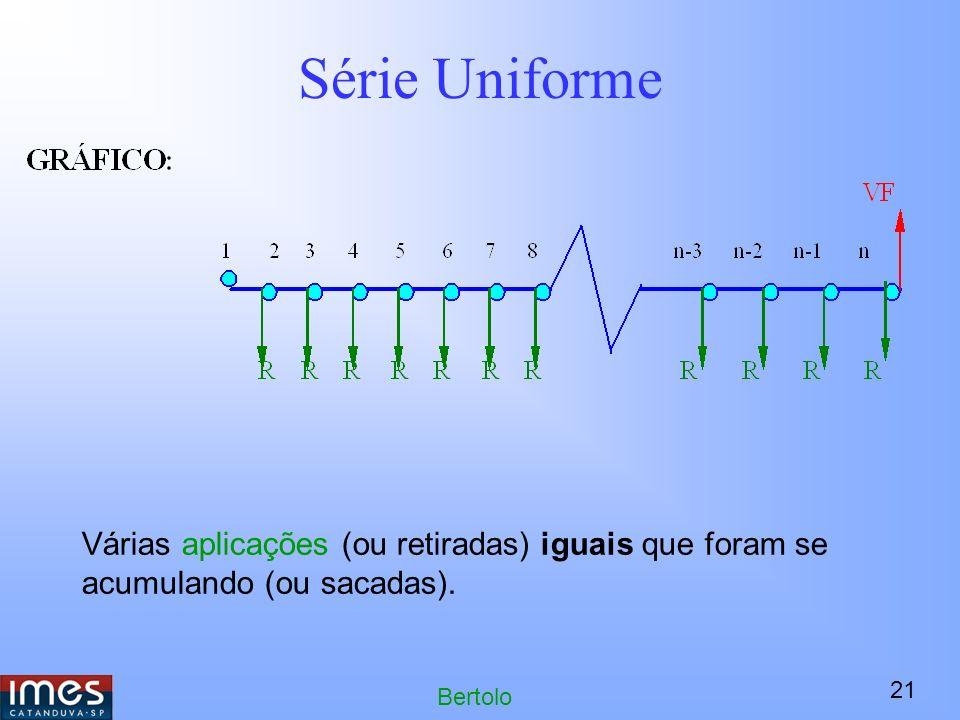 Série Uniforme Várias aplicações (ou retiradas) iguais que foram se acumulando (ou sacadas).