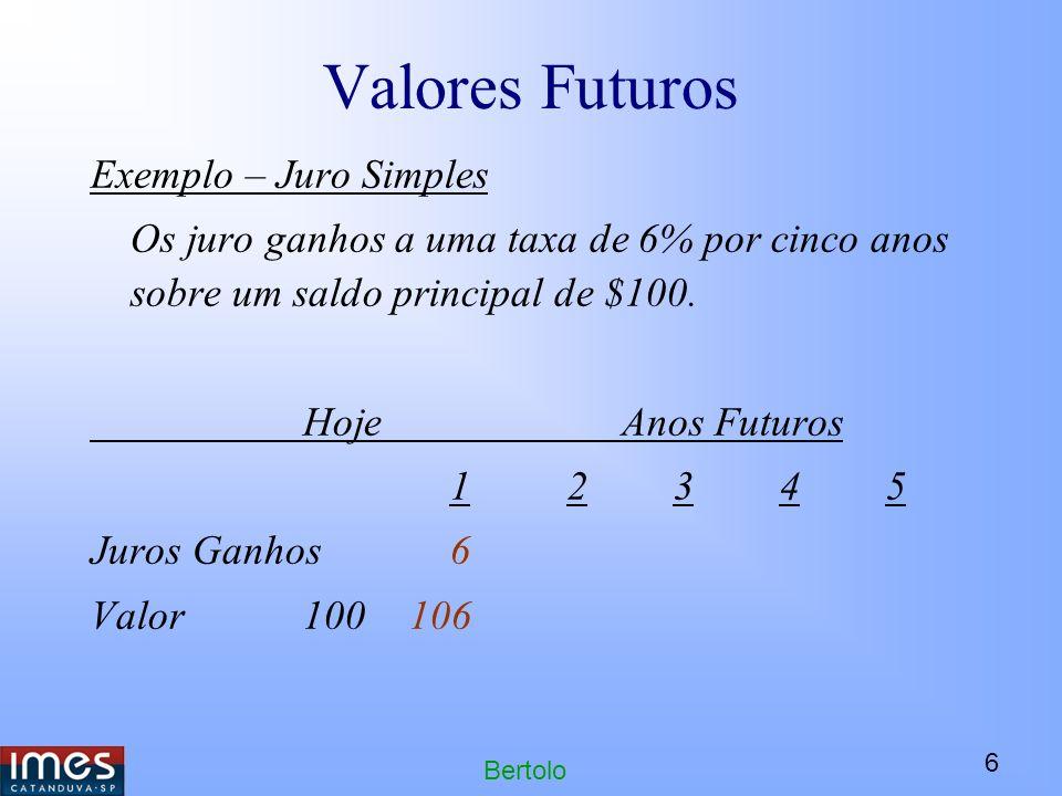 Valores Futuros Exemplo – Juro Simples