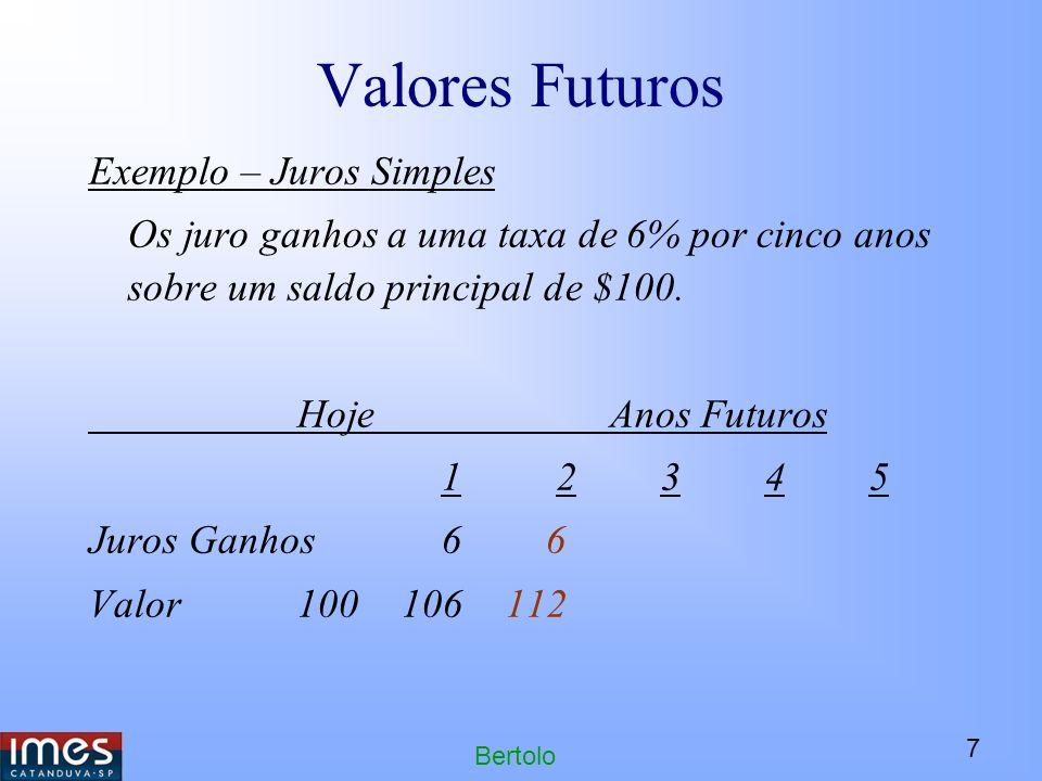 Valores Futuros Exemplo – Juros Simples