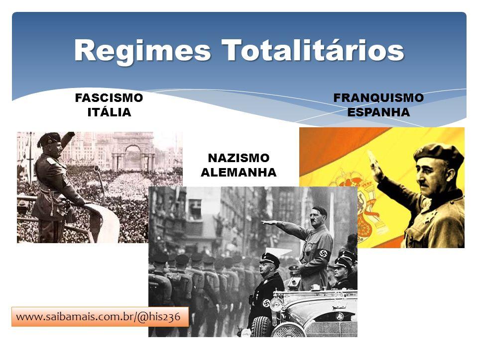 Regimes Totalitários FASCISMO ITÁLIA FRANQUISMO ESPANHA NAZISMO