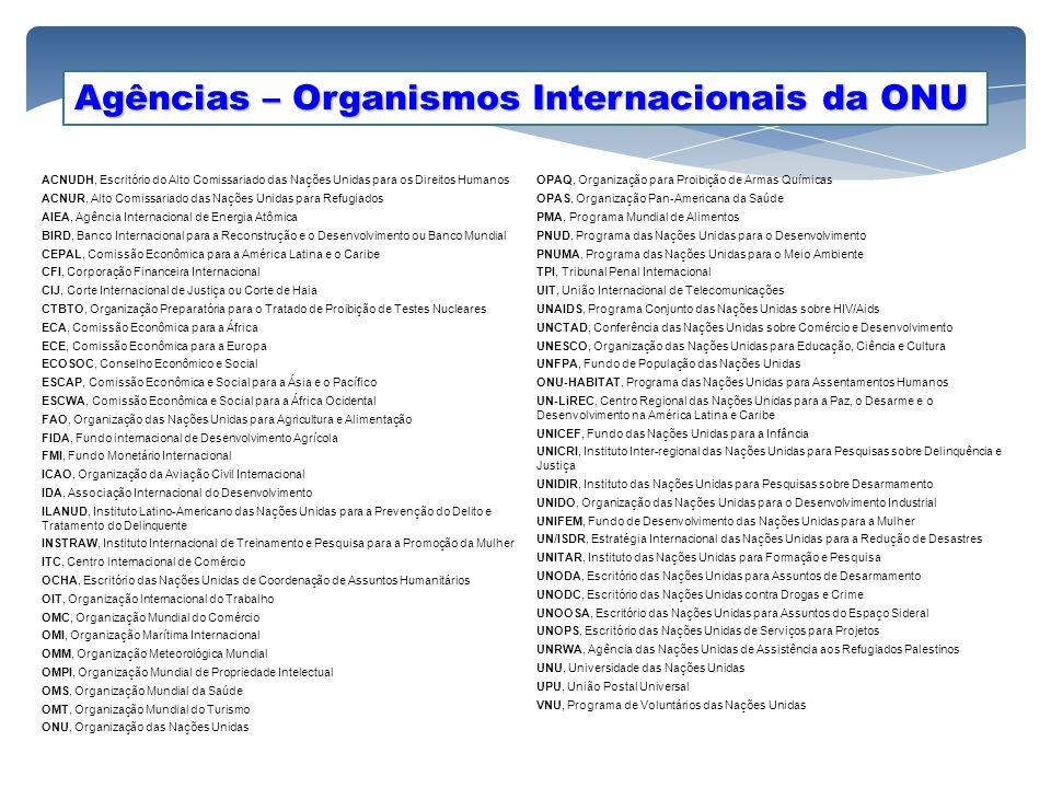 Agências – Organismos Internacionais da ONU