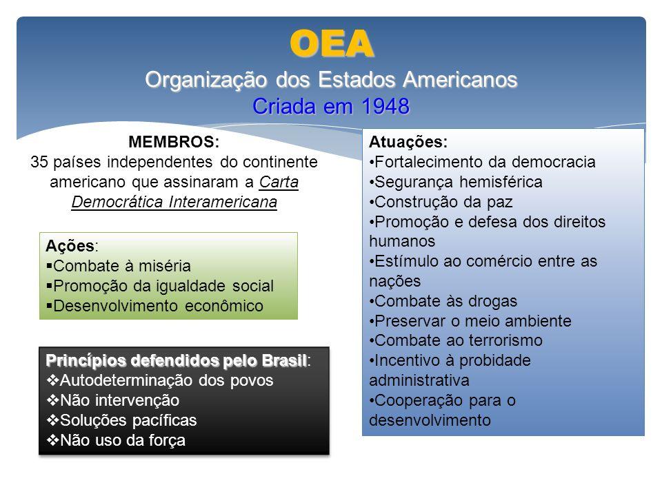 OEA Organização dos Estados Americanos Criada em 1948