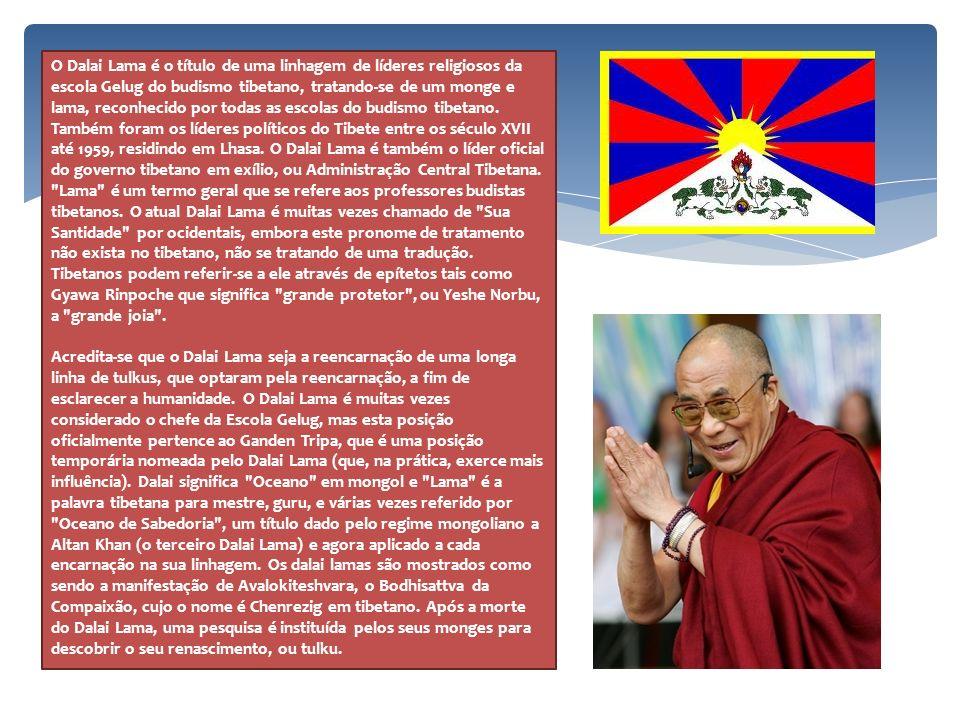 O Dalai Lama é o título de uma linhagem de líderes religiosos da escola Gelug do budismo tibetano, tratando-se de um monge e lama, reconhecido por todas as escolas do budismo tibetano. Também foram os líderes políticos do Tibete entre os século XVII até 1959, residindo em Lhasa. O Dalai Lama é também o líder oficial do governo tibetano em exílio, ou Administração Central Tibetana. Lama é um termo geral que se refere aos professores budistas tibetanos. O atual Dalai Lama é muitas vezes chamado de Sua Santidade por ocidentais, embora este pronome de tratamento não exista no tibetano, não se tratando de uma tradução. Tibetanos podem referir-se a ele através de epítetos tais como Gyawa Rinpoche que significa grande protetor , ou Yeshe Norbu, a grande joia .