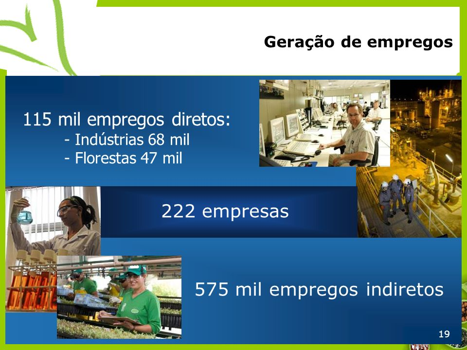 575 mil empregos indiretos