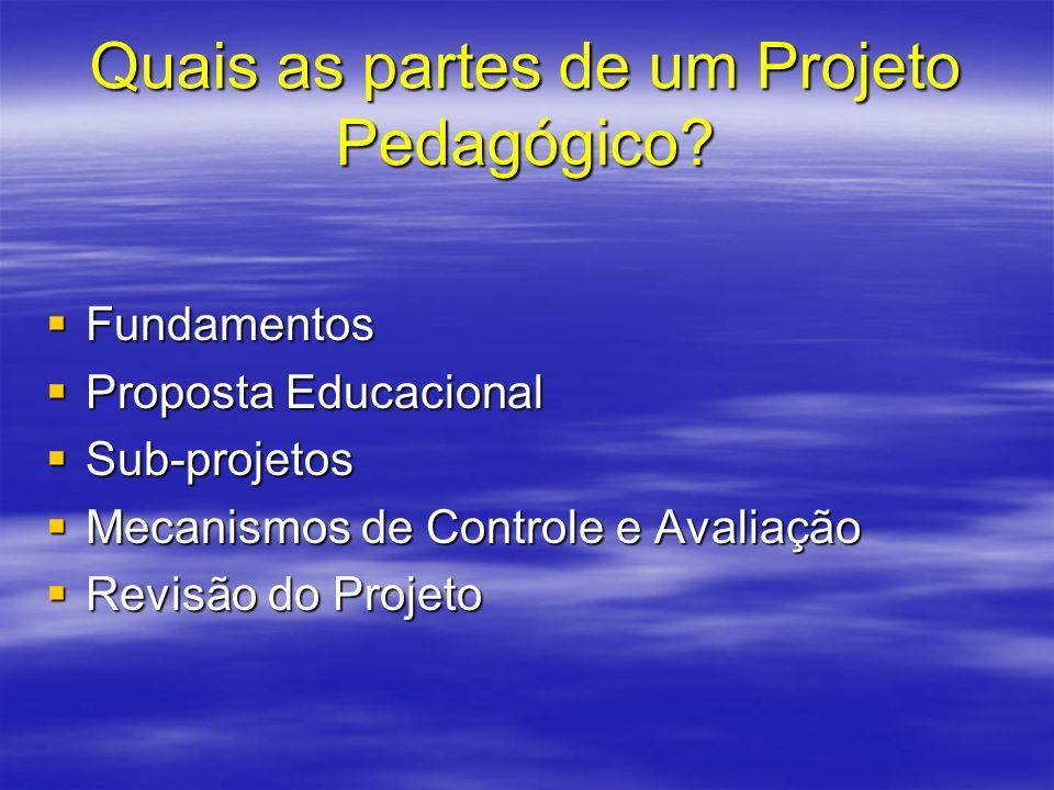 Quais as partes de um Projeto Pedagógico