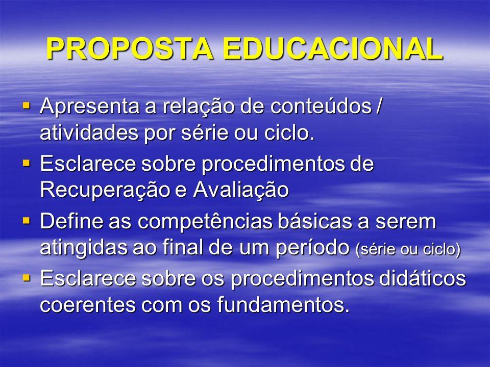 PROPOSTA EDUCACIONAL Apresenta a relação de conteúdos / atividades por série ou ciclo. Esclarece sobre procedimentos de Recuperação e Avaliação.
