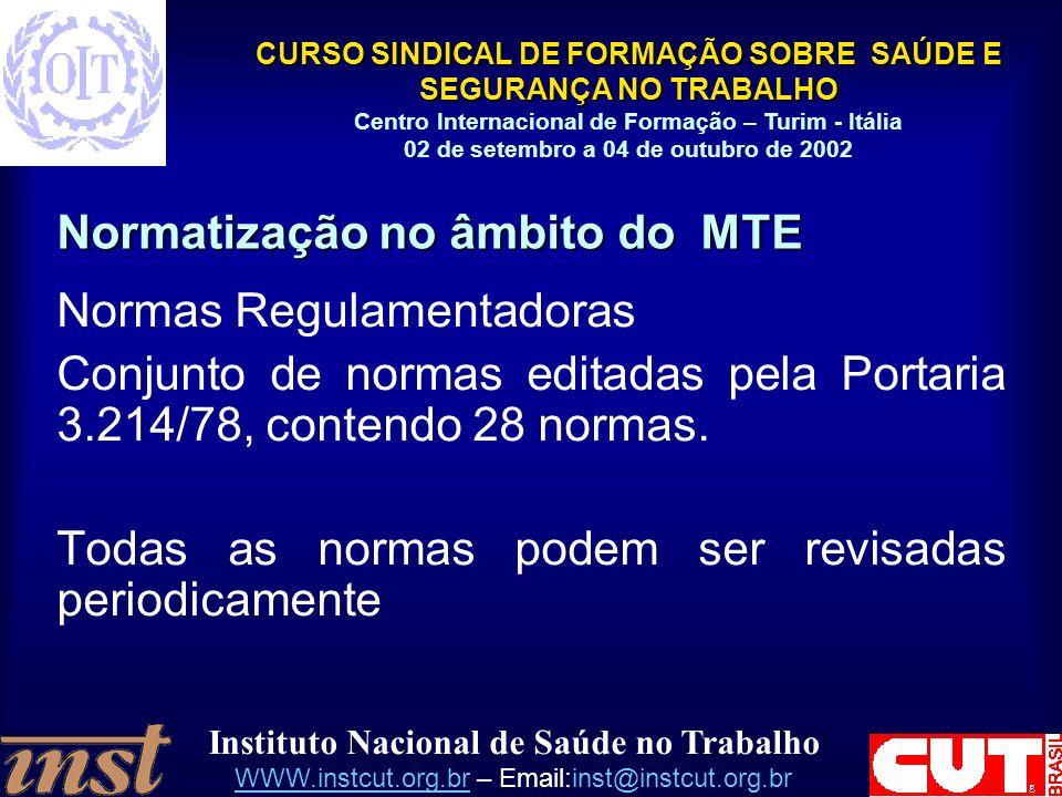 Normatização no âmbito do MTE