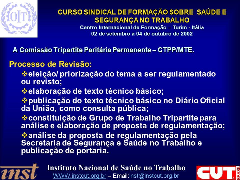 A Comissão Tripartite Paritária Permanente – CTPP/MTE.