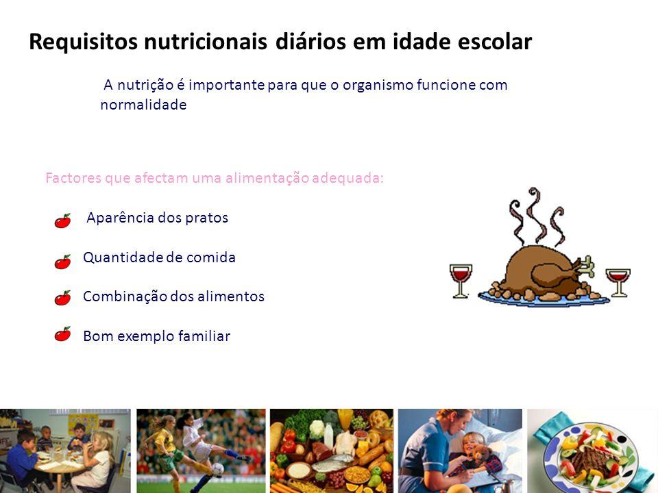 Requisitos nutricionais diários em idade escolar