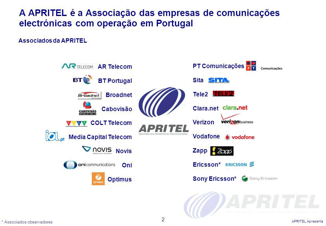 A APRITEL é a Associação das empresas de comunicações electrónicas com operação em Portugal
