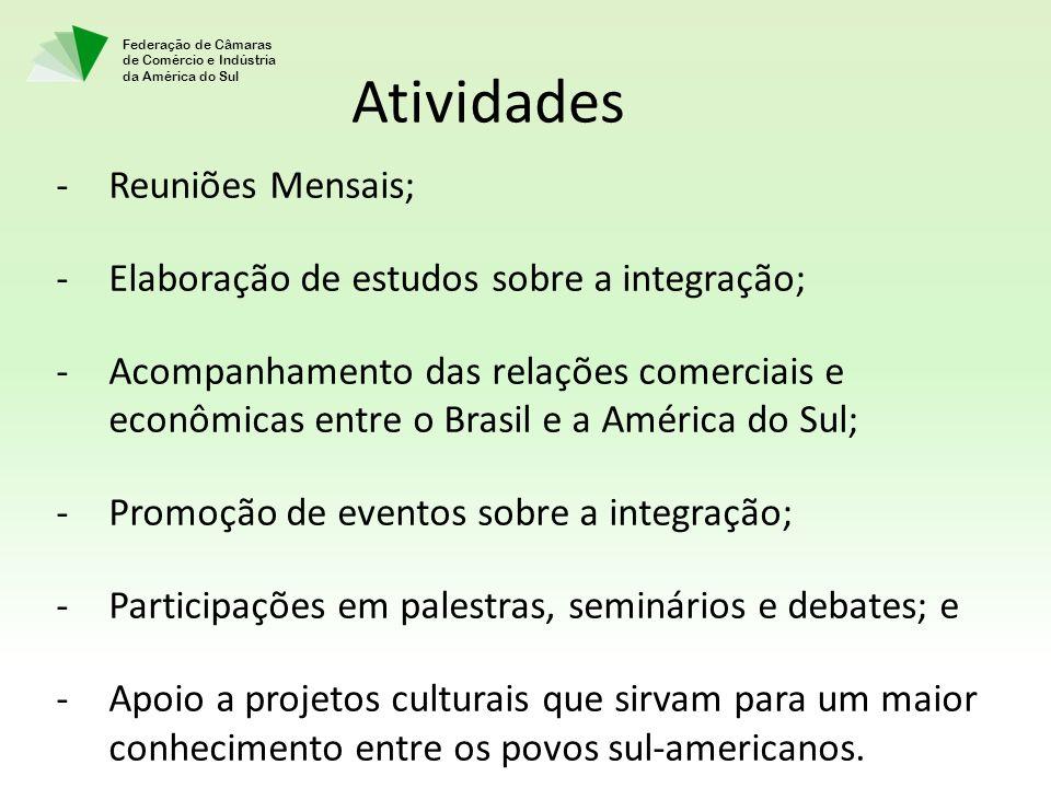 Atividades Reuniões Mensais; Elaboração de estudos sobre a integração;