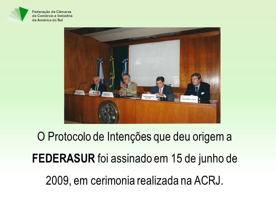 O Protocolo de Intenções que deu origem a FEDERASUR foi assinado em 15 de junho de 2009, em cerimonia realizada na ACRJ.