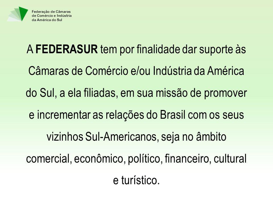 A FEDERASUR tem por finalidade dar suporte às Câmaras de Comércio e/ou Indústria da América do Sul, a ela filiadas, em sua missão de promover e incrementar as relações do Brasil com os seus vizinhos Sul-Americanos, seja no âmbito comercial, econômico, político, financeiro, cultural e turístico.