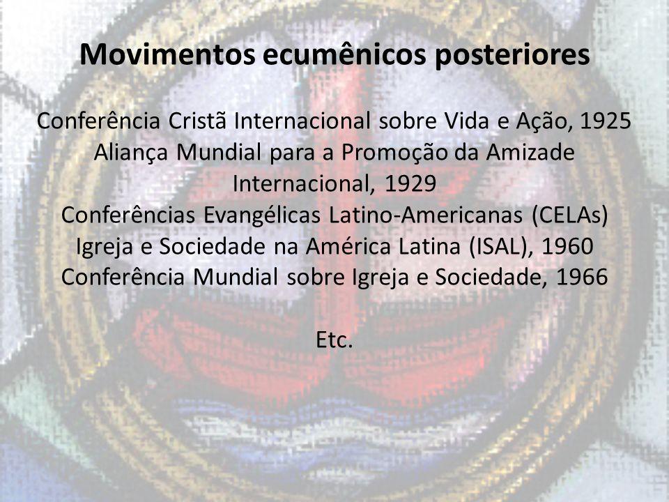 Movimentos ecumênicos posteriores