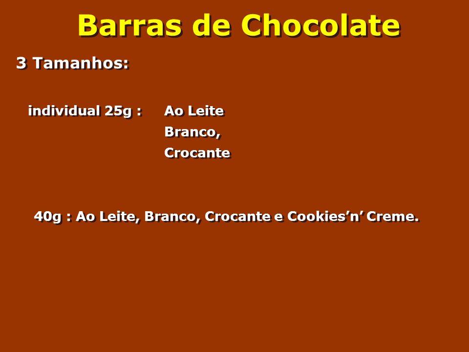 Barras de Chocolate 3 Tamanhos: individual 25g : Ao Leite Branco,