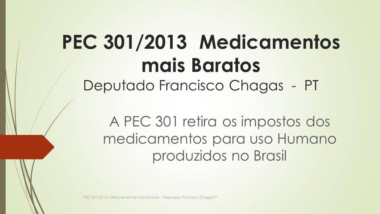 PEC 301/2013 Medicamentos mais Baratos Deputado Francisco Chagas - PT