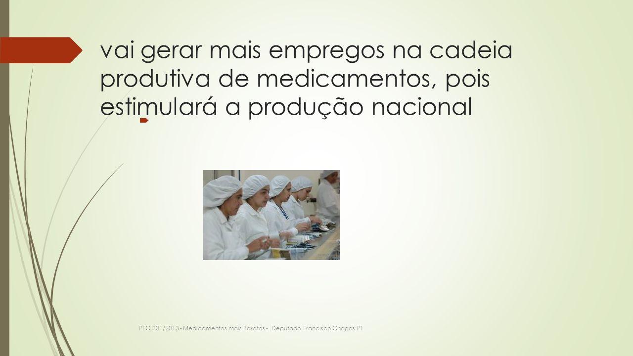 vai gerar mais empregos na cadeia produtiva de medicamentos, pois estimulará a produção nacional