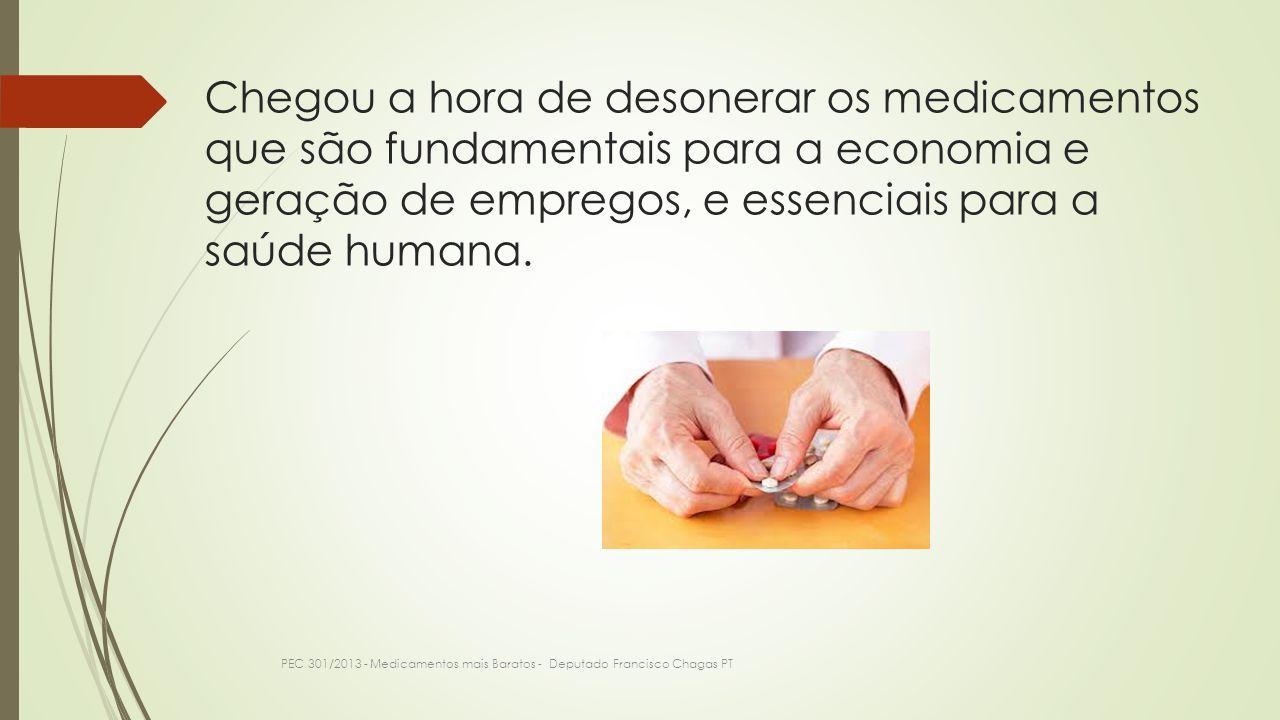 Chegou a hora de desonerar os medicamentos que são fundamentais para a economia e geração de empregos, e essenciais para a saúde humana.