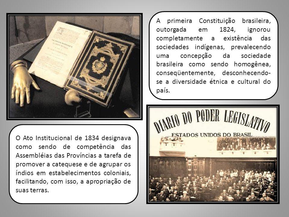 A primeira Constituição brasileira, outorgada em 1824, ignorou completamente a existência das sociedades indígenas, prevalecendo uma concepção da sociedade brasileira como sendo homogênea, conseqüentemente, desconhecendo-se a diversidade étnica e cultural do país.