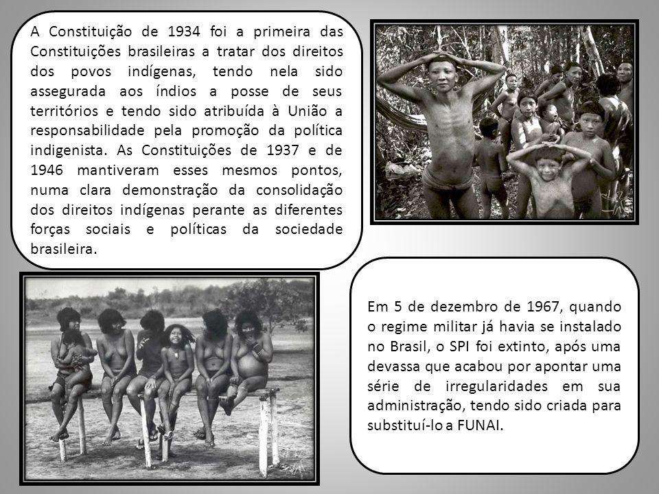 A Constituição de 1934 foi a primeira das Constituições brasileiras a tratar dos direitos dos povos indígenas, tendo nela sido assegurada aos índios a posse de seus territórios e tendo sido atribuída à União a responsabilidade pela promoção da política indigenista. As Constituições de 1937 e de 1946 mantiveram esses mesmos pontos, numa clara demonstração da consolidação dos direitos indígenas perante as diferentes forças sociais e políticas da sociedade brasileira.