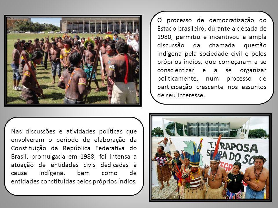 O processo de democratização do Estado brasileiro, durante a década de 1980, permitiu e incentivou a ampla discussão da chamada questão indígena pela sociedade civil e pelos próprios índios, que começaram a se conscientizar e a se organizar politicamente, num processo de participação crescente nos assuntos de seu interesse.