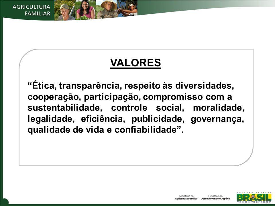 VALORES Ética, transparência, respeito às diversidades,