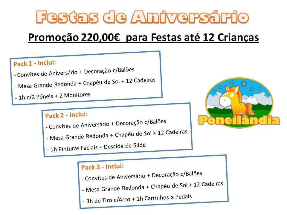 Promoção 220,00€ para Festas até 12 Crianças