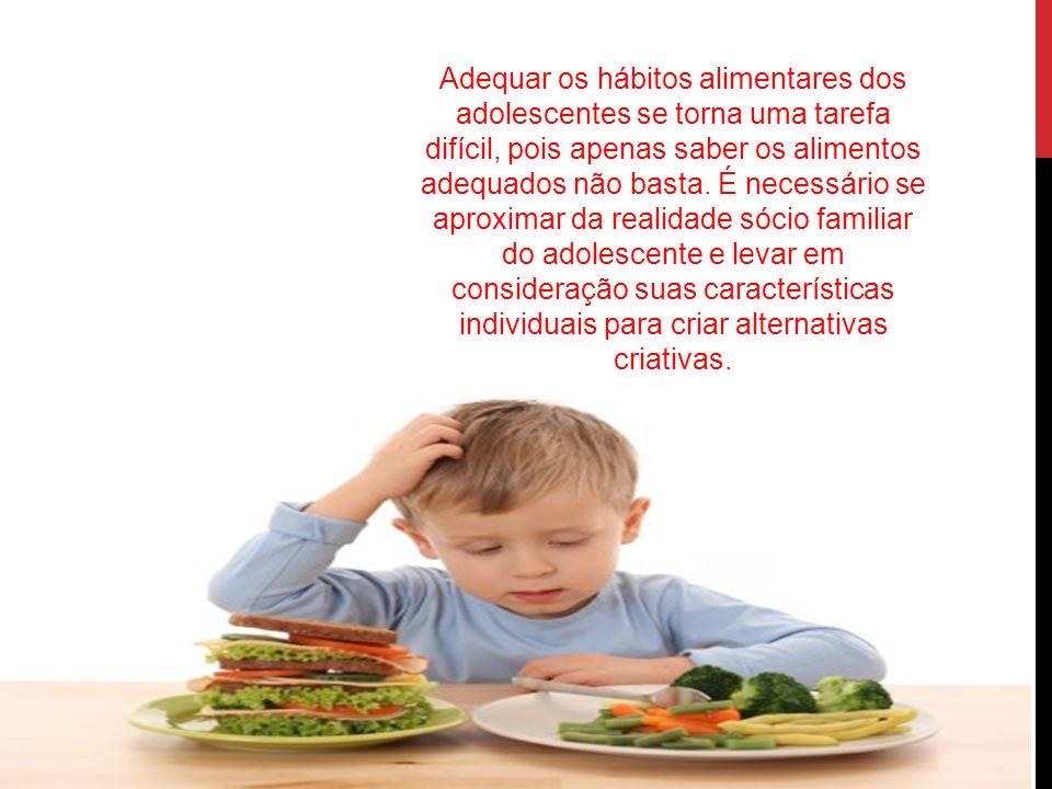 Adequar os hábitos alimentares dos adolescentes se torna uma tarefa difícil, pois apenas saber os alimentos adequados não basta.
