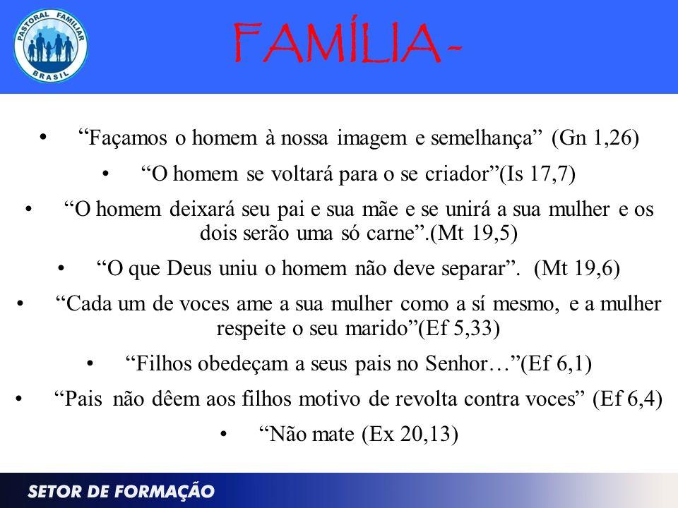 FAMÍLIA - Façamos o homem à nossa imagem e semelhança (Gn 1,26)