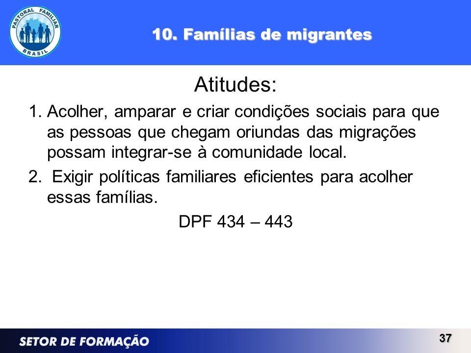 10. Famílias de migrantes Atitudes: