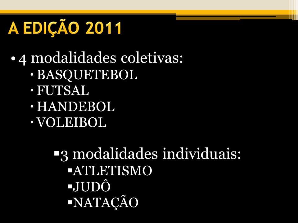 A EDIÇÃO 2011 4 modalidades coletivas: 3 modalidades individuais: