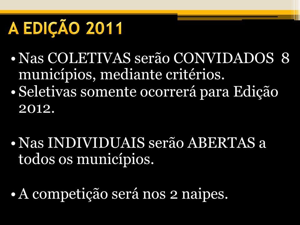 A EDIÇÃO 2011 Nas COLETIVAS serão CONVIDADOS 8 municípios, mediante critérios. Seletivas somente ocorrerá para Edição 2012.