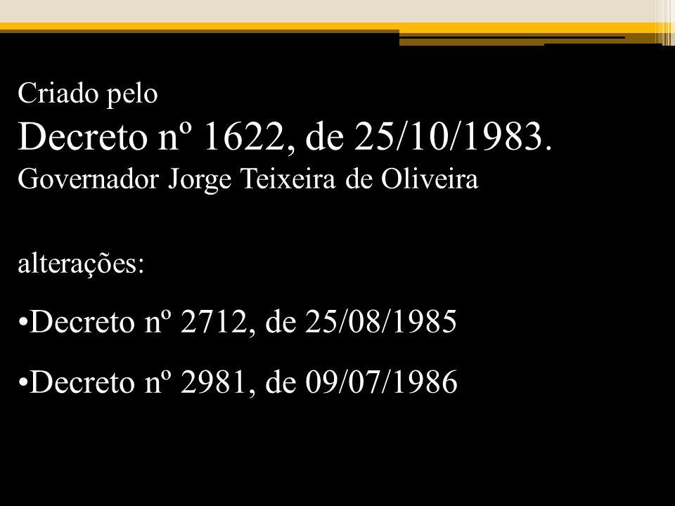 Decreto nº 1622, de 25/10/1983. Decreto nº 2712, de 25/08/1985