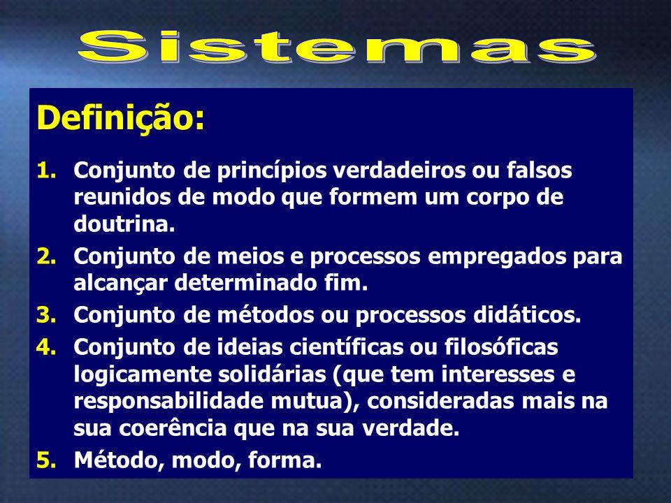 Sistemas Conjunto de princípios verdadeiros ou falsos reunidos de modo que formem um corpo de doutrina.