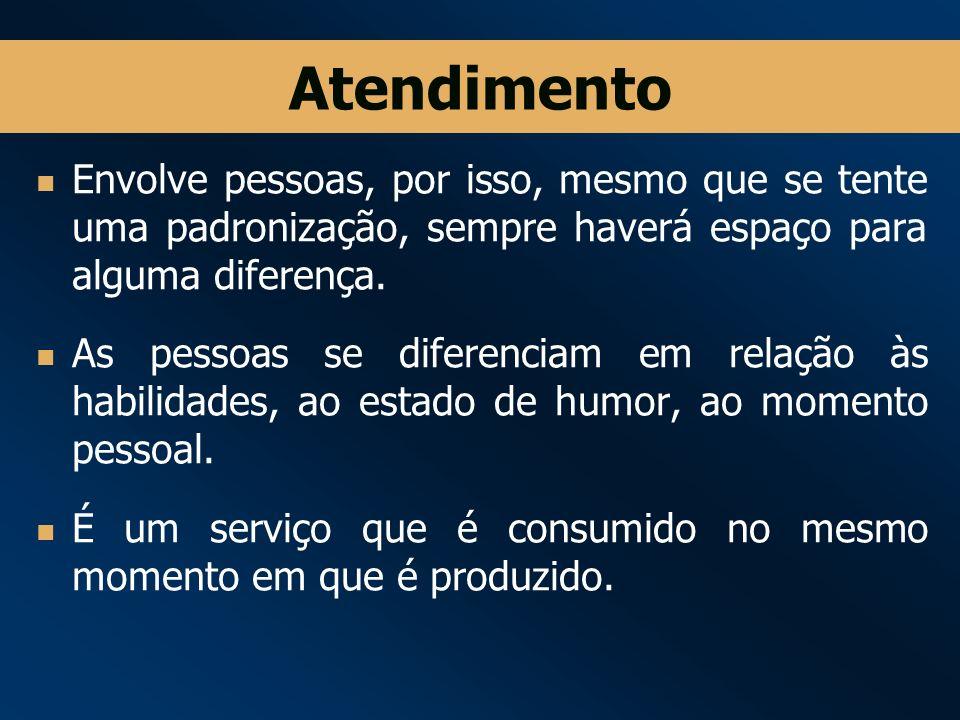 Atendimento Envolve pessoas, por isso, mesmo que se tente uma padronização, sempre haverá espaço para alguma diferença.