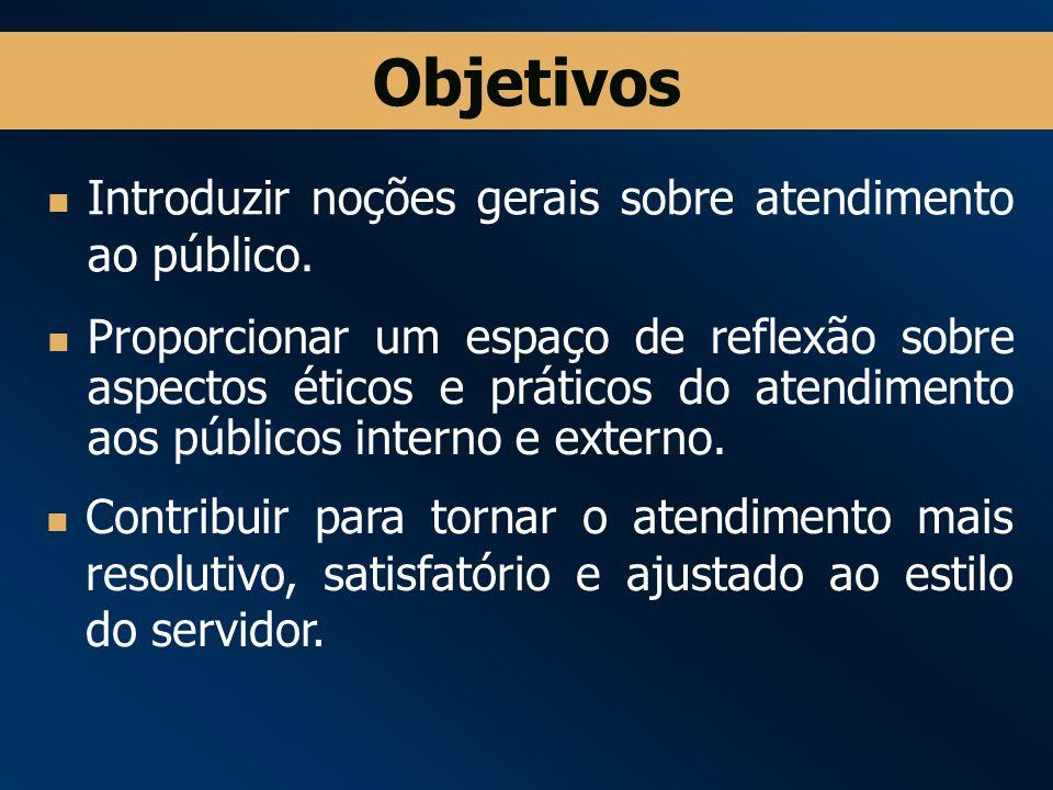 Objetivos Introduzir noções gerais sobre atendimento ao público.