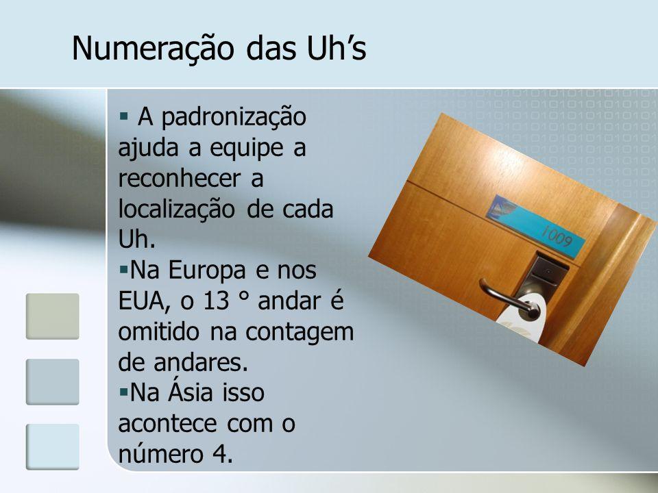 Numeração das Uh's A padronização ajuda a equipe a reconhecer a localização de cada Uh.