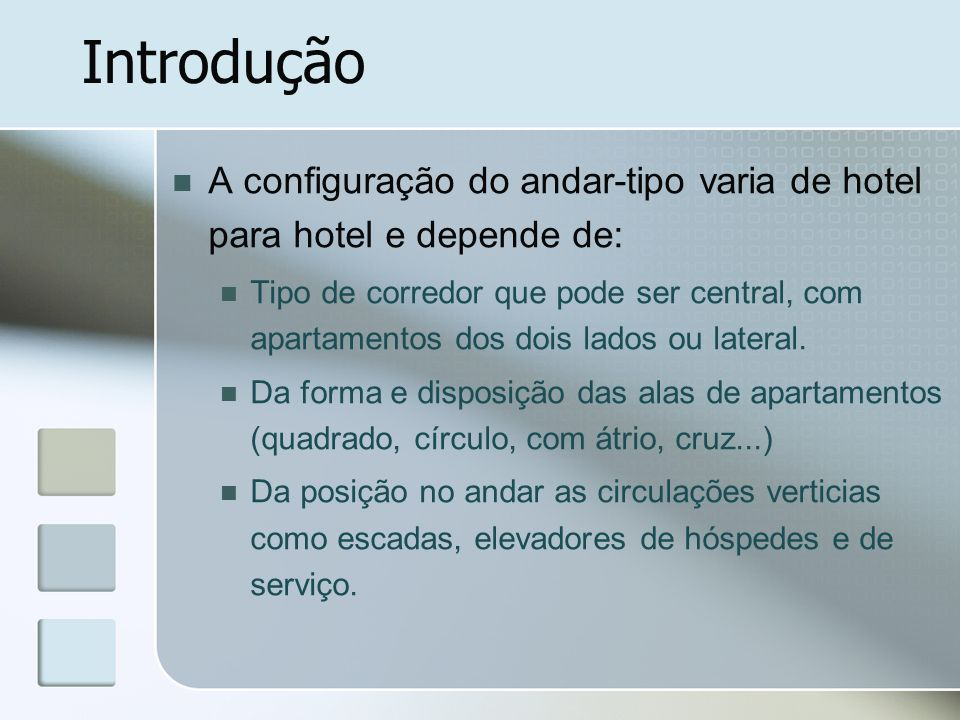 Introdução A configuração do andar-tipo varia de hotel para hotel e depende de: