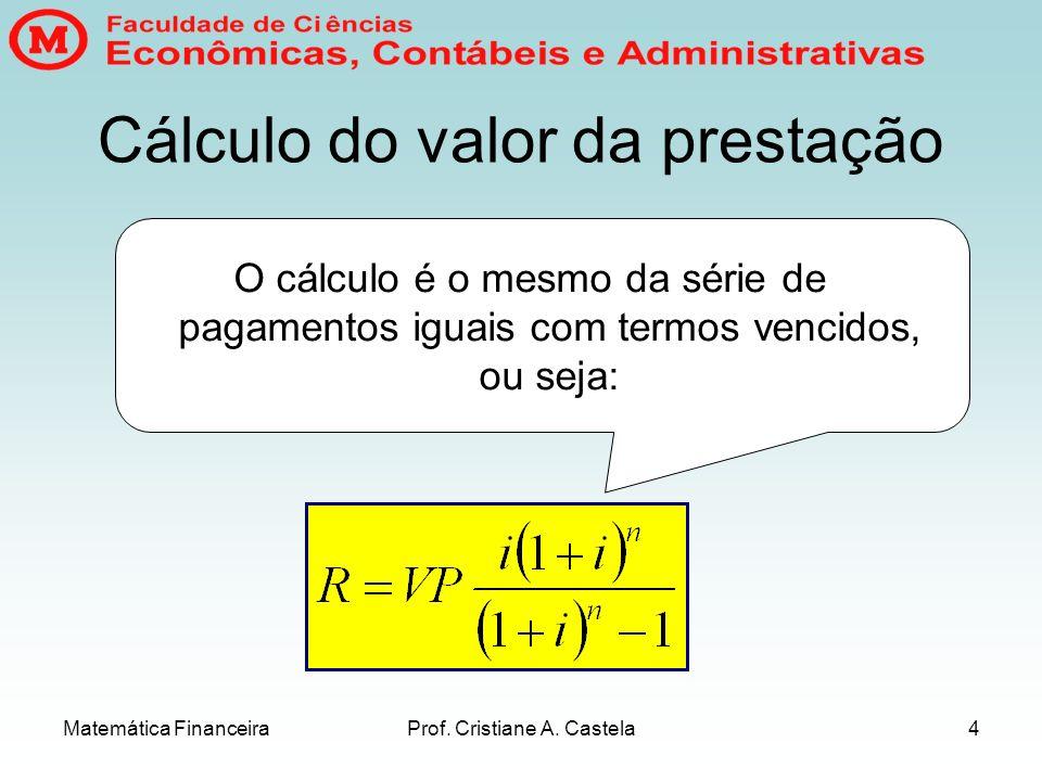 Cálculo do valor da prestação