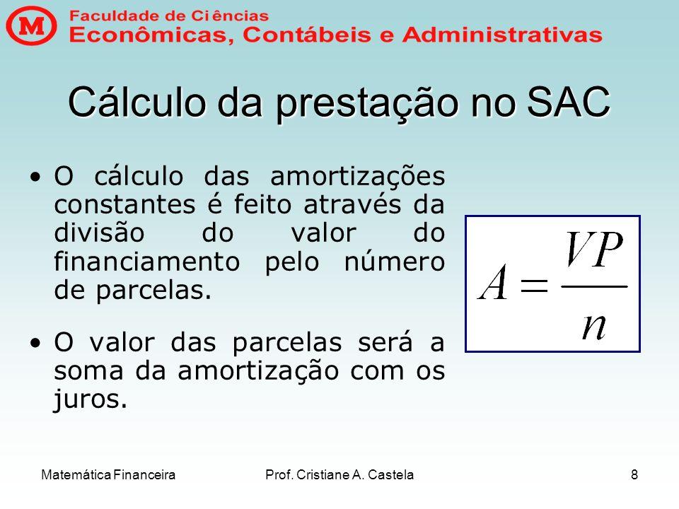 Cálculo da prestação no SAC