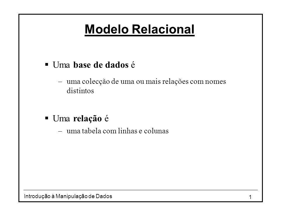 Modelo Relacional Uma base de dados é Uma relação é